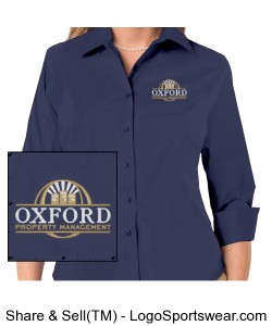 Ladies 3/4 Sleeve Easy Care Stretch Poplin Blouse-OPM Logo Design Zoom